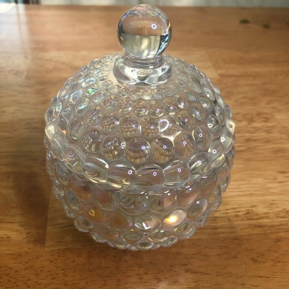 Beautiful opalescent hobnail covered trinket dish